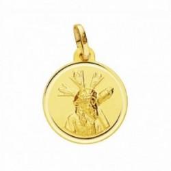Medalla oro 18k Cristo Gran Poder 16mm. lisa bisel [AA2583]