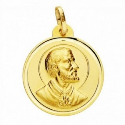 Medalla oro 18k San Francisco Javier 22mm. lisa bisel [AA2584GR]