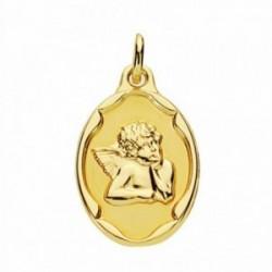 Medalla oro 18k ángel burlón Querubín 21mm. oval [AA2677]