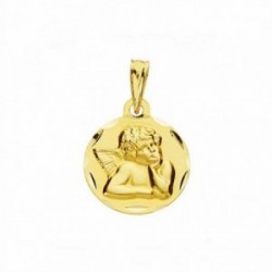 Medalla oro 18k ángel burlón Querubín  14mm. labrada tallada [AA2679]