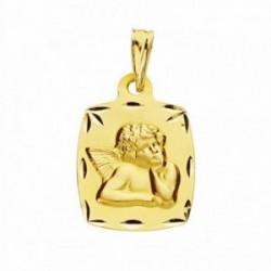 Medalla oro 18k ángel burlón Querubín  20mm. labrada tallada [AA2681]