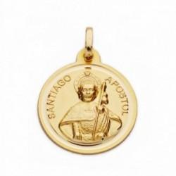 Medalla oro 18k Santiago Apóstol 18mm. lisa bisel [AA2705]