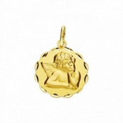 Medalla oro 18k ángel burlón Querubín 14mm. labrada tallada [AA2706]
