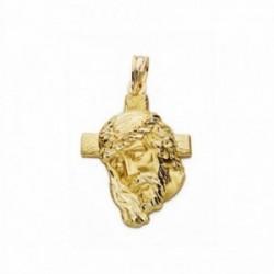 Cabeza rostro Cristo oro 18k cruz 28mm. [AA2442]