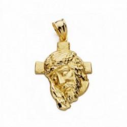 Cabeza rostro Cristo oro 18k cruz 31mm. [AA2443]