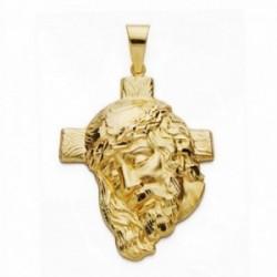 Cabeza rostro Cristo oro 18k cruz 40mm. [AA2445]