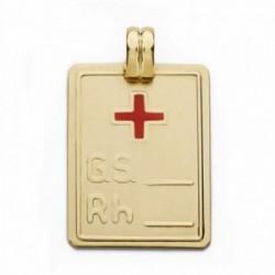 Colgante oro 18k placa grupo sanguíneo RH cruz roja 28mm. [AA2523]