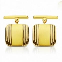 Gemelos oro 18k cuadrados 14mm. mate y brillo [AA2638]