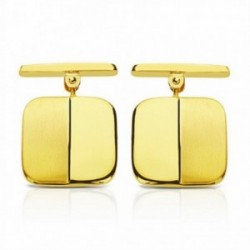 Gemelos oro 18k cuadrados 14mm. mate y brillo [AA2639]