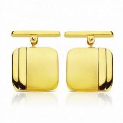 Gemelos oro 18k cuadrados trevilla 14mm. mate y brillo [AA2640]