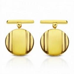 Gemelos oro 18k redondos 15mm. mate y brillo [AA2641]