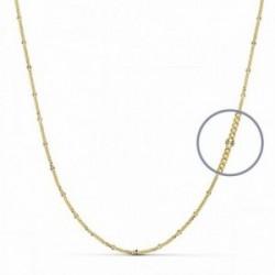 Cadena oro 18k  barbada combinada diamantada 45cm. [AA2685]