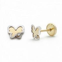 Pendientes oro 18k mariposa 5mm. circonita cierre tornillo [AA2057]