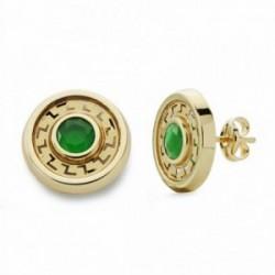 Pendientes oro 18k redondos 11mm. piedra verde [AA2084]