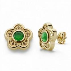 Pendientes oro 18k flor 11mm. piedra verde cierre presión [AA2086]