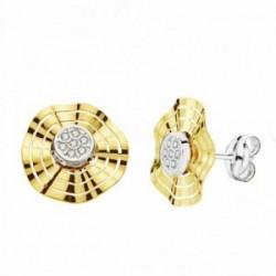 Pendientes oro 18k bicolor 10mm. circonitas cierre presión [AA2183]
