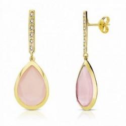Pendientes oro 18k largos piedra rosa 33mm. cierre presión [AA2202]