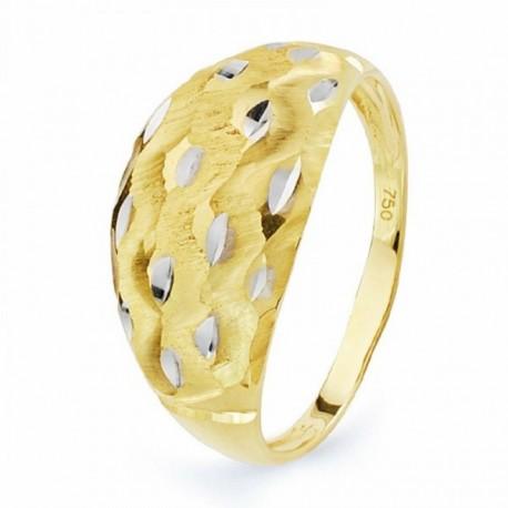 Sortija oro 18k bicolor tallada  [AA2276]