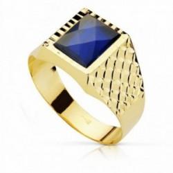 Sello oro 18k piedra espinela azul 10mm. cuadrado [AA2307]
