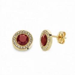 Pendientes oro 18k piedra roja 9mm. circonitas [AA2336]