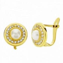 Pendientes oro 18k perla 9mm. circonitas cierre catalán [AA2360]