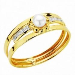 Sortija oro 18k perla 3mm. circonitas [AA2389]
