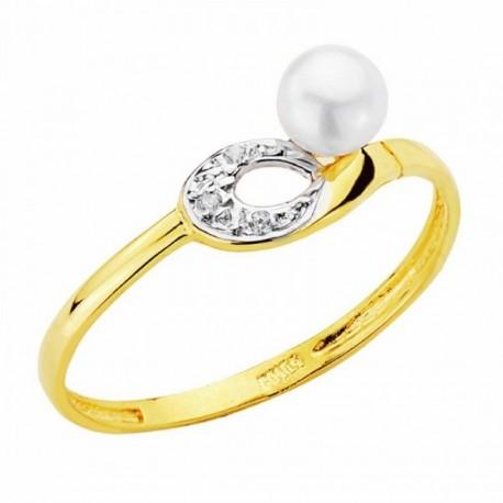 Sortija oro 18k bicolor perla 4mm. circonitas [AA2395]