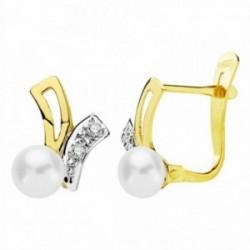 Pendientes oro 18k bicolor 11mm. perlas circonitas [AA2396]