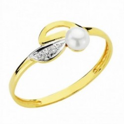 Sortija oro 18k bicolor perla 3.5mm. circonitas [AA2399]