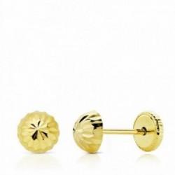 Pendientes oro 18k media bola tallada 5mm. cierre tuerca niña