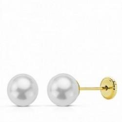 Pendientes oro 18k perla 6mm. cierre tornillo [AA2653]