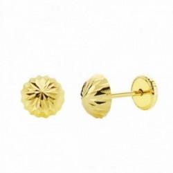 Pendientes oro 18k media bola tallada 6mm. cierre tuerca niña