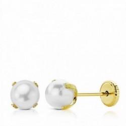 Pendientes oro 18k perla 5mm. cierre tornillo [AA2699]