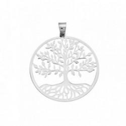 Colgante plata Ley 925m. rodiada árbol vida 45mm. láser [AA2792]