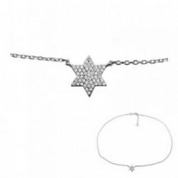 Colgante gargantilla plata Ley 925m. rodiada estrella  [AA2912]