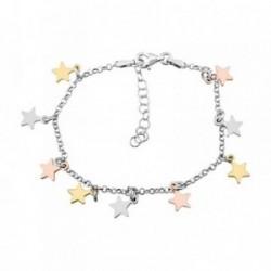 Pulsera plata Ley 925m. rodiada fetiches estrellas tricolor [AA4266]
