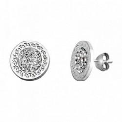 Pendientes plata Ley 925m.  greca 12mm. circonitas  [AA3387]