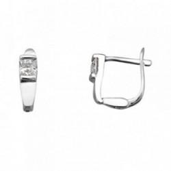 Pendientes plata Ley 925m. rodiada circonitas 3.5mm.  [AA3522]