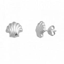 Pendientes plata Ley 925m. concha galloneadas [AA3561]