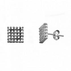 Pendientes plata Ley 925m. rodiada cuadrados circonitas [AA3584]