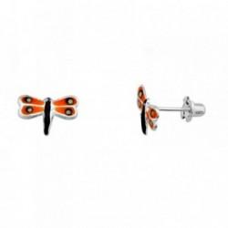 Pendientes plata Ley 925m. rodiada libélula naranja verde  [AA3879]