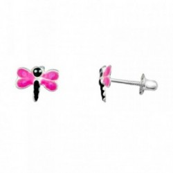 Pendientes plata Ley 925m. rodiada libélula rosa esmaltada [AA3880]