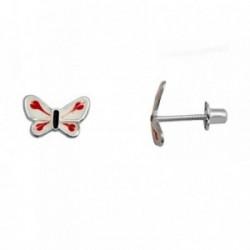Pendientes plata Ley 925m. rodiada mariposa blanca roja  [AA3887]