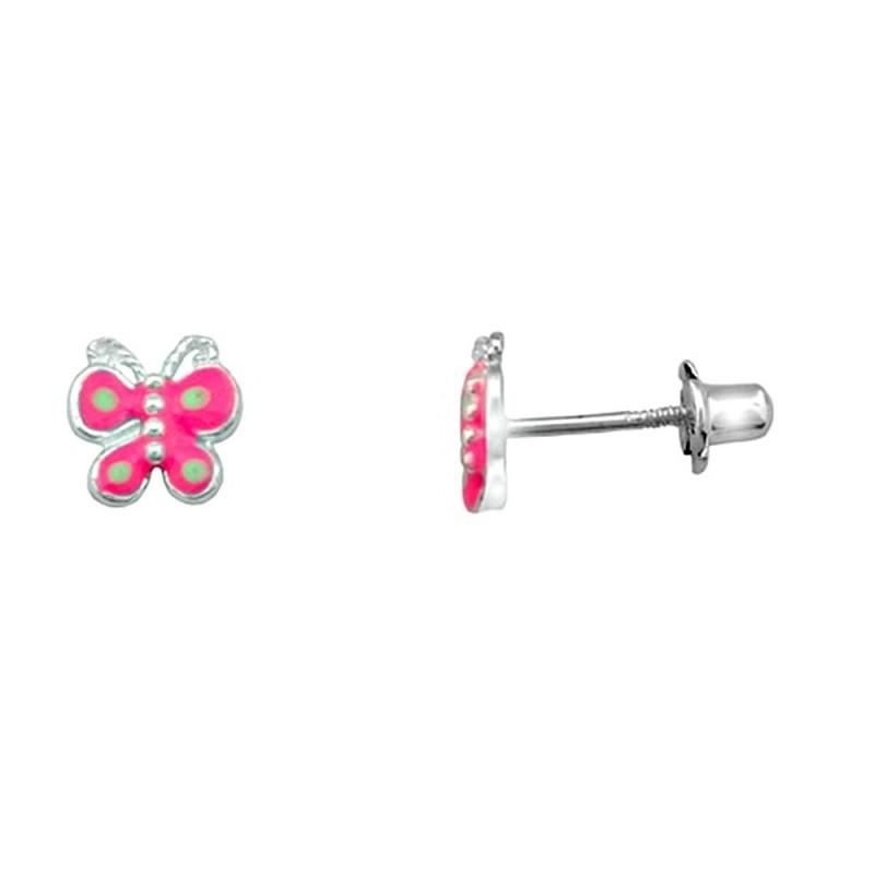 b862105a2ab9 Pendientes plata Ley 925m. rodiada mariposa rosa verde [AA3900]