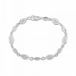 Pulsera plata Ley 925m. rodiada ovales calados filigranas [AA4192]