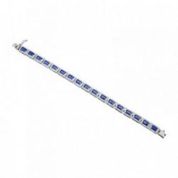 Pulsera plata Ley 925m. rodiada rectángulos color zafiro [AA4202]