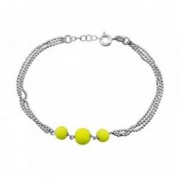 Pulsera plata Ley 925m. rodiada 3 cadenas bolas amarillo  [AA4230]