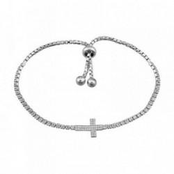 Pulsera plata Ley 925m. rodiada cruz circonitas [AA4282]
