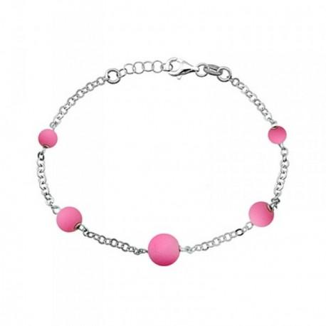 Pulsera plata Ley 925m. rodiada bolas rosa fluorescentes [AA4345]