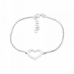 Pulsera plata Ley 925m. rodiada corazón calado [AA4372]